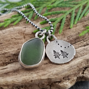 Recycled Silver Pine Tree and Sea Glass Necklace #3