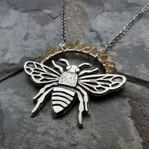 sterling silver bumblebee necklace with yellow citrine