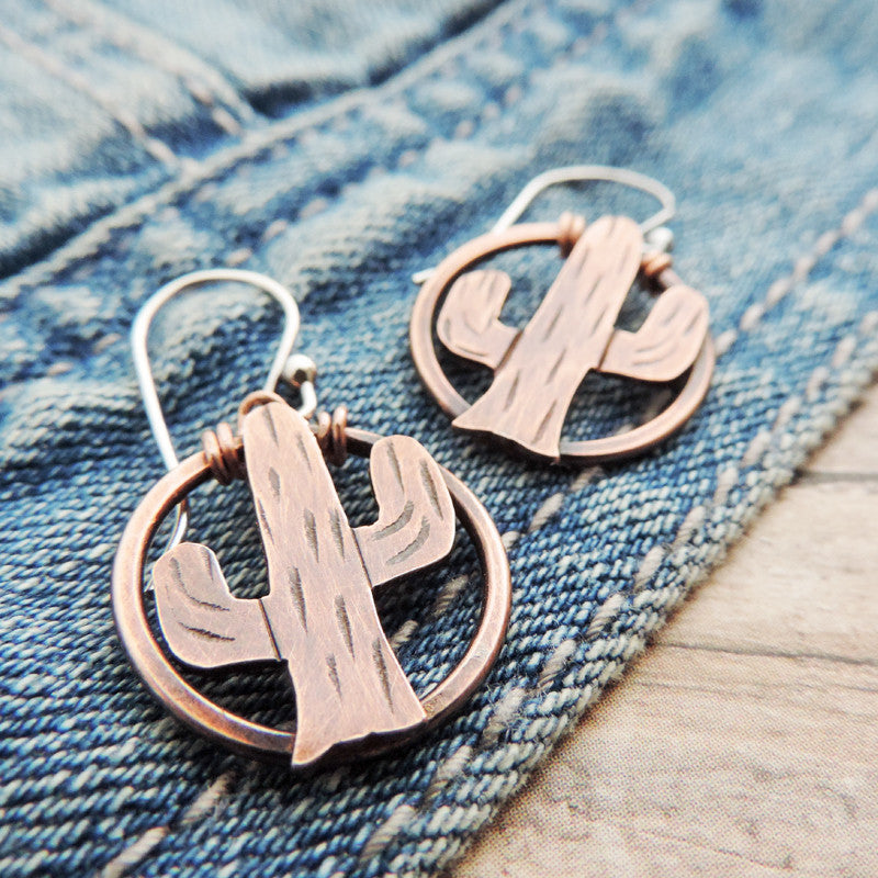 copper cactus earrings