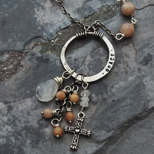 inspirational grace cross sunstone moonstone charm necklace