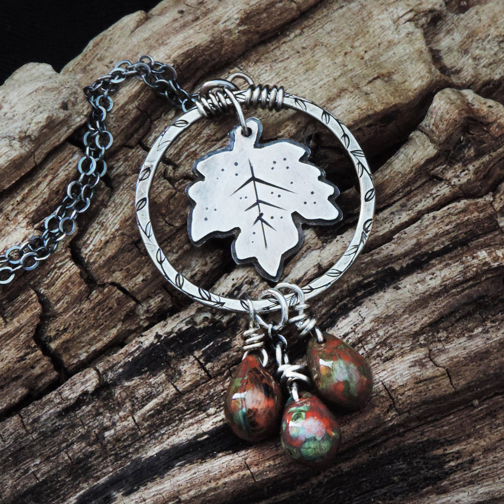 sterling silver maple leaf charm necklace