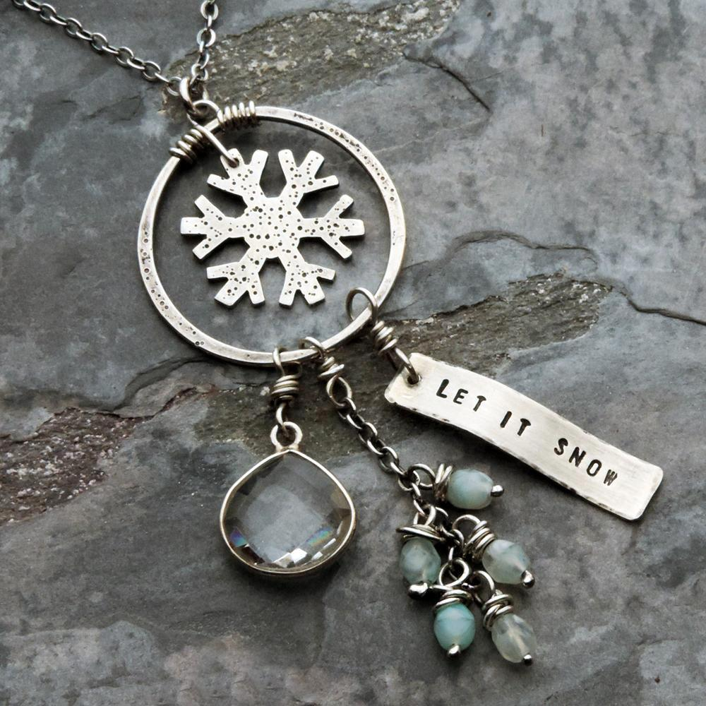 sterling silver snowflake let it snow charm necklace