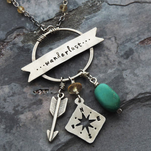 wanderlust compass arrow turquoise charm necklace