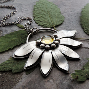 Sunflower Necklace with Citrine Gemstone
