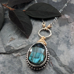 labradorite bezel pendant with gold wrapped wire