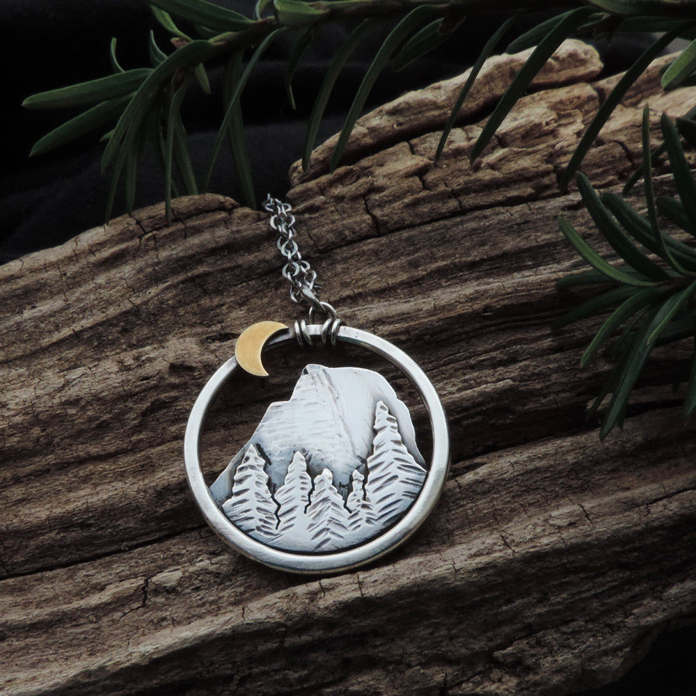 sterling silver yosemite half dome pendant necklace