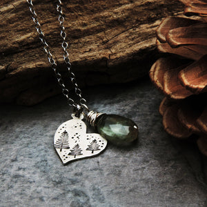 sterling silver heart pendant stamped pine trees moss aquamarine
