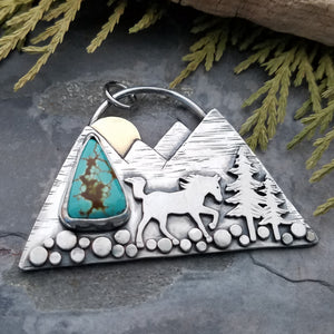 Custom Order - Mountain and Rearing Horse Turquoise Necklace