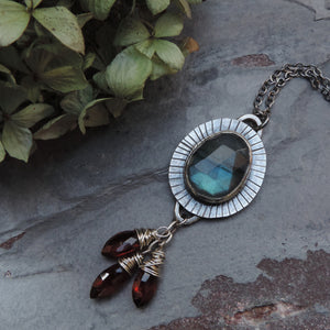 labradorite garnet sterling silver necklace