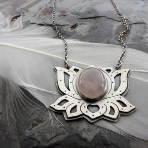 sterling silver lotus flower pendant with rose quartz gemstone