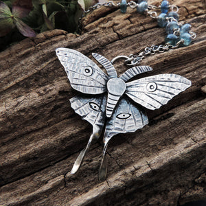 handmade sterling silver luna moth pendant necklace