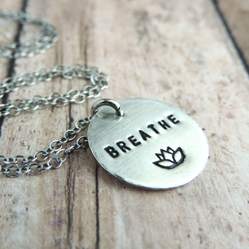 Minimalist Sterling Silver Breathe Mantra Necklace