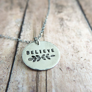 Minimalist Sterling Silver Believe Mantra Necklace