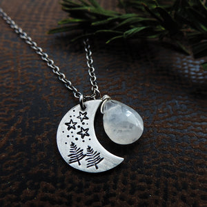 crescent moon charm necklace with moonstone gemstone