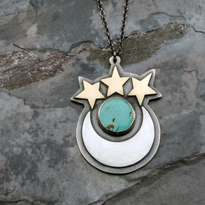 turquoise crescent moon and stars necklace