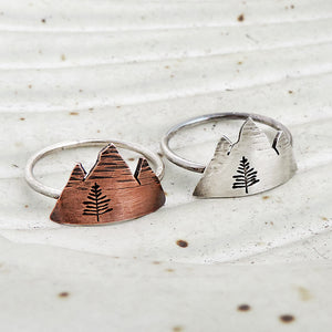 copper or sterling silver mountain range ring