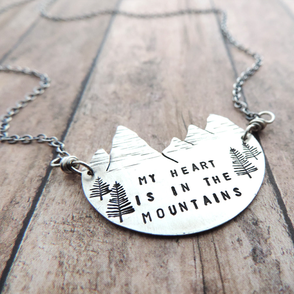 sterling silver mountain peaks necklace