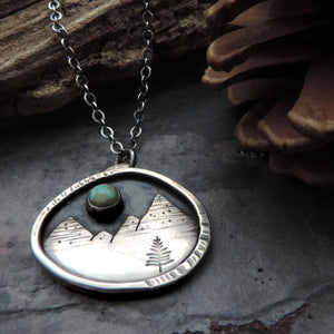 sterling silver mountain necklace with turquoise moon