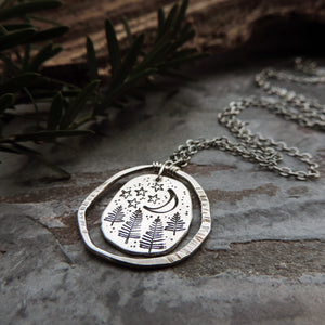 Starry Sky and Pine Trees Organic Charm Necklace