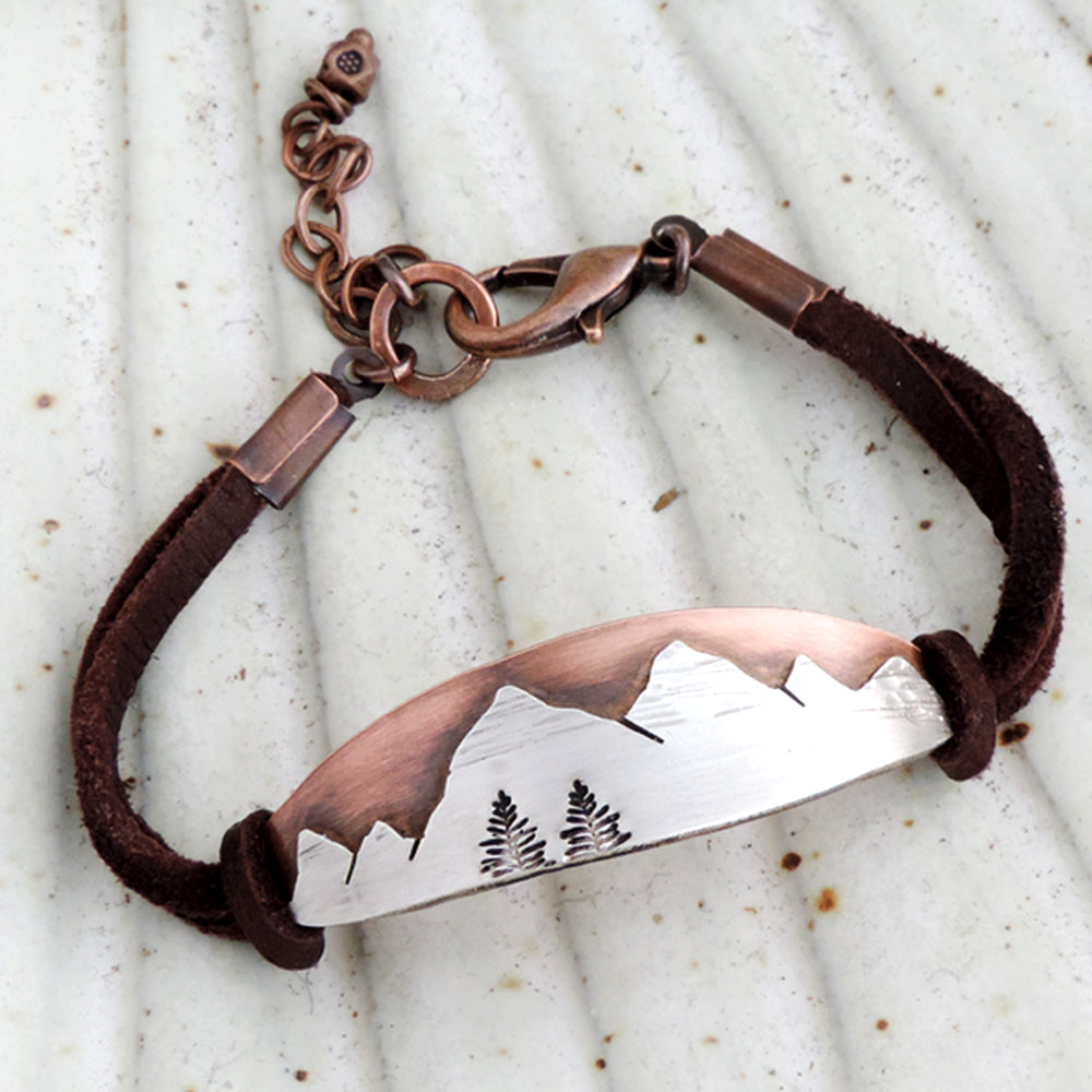 mountain bracelet with leather strap