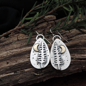 sterling silver pine tree and crescent moon earrings