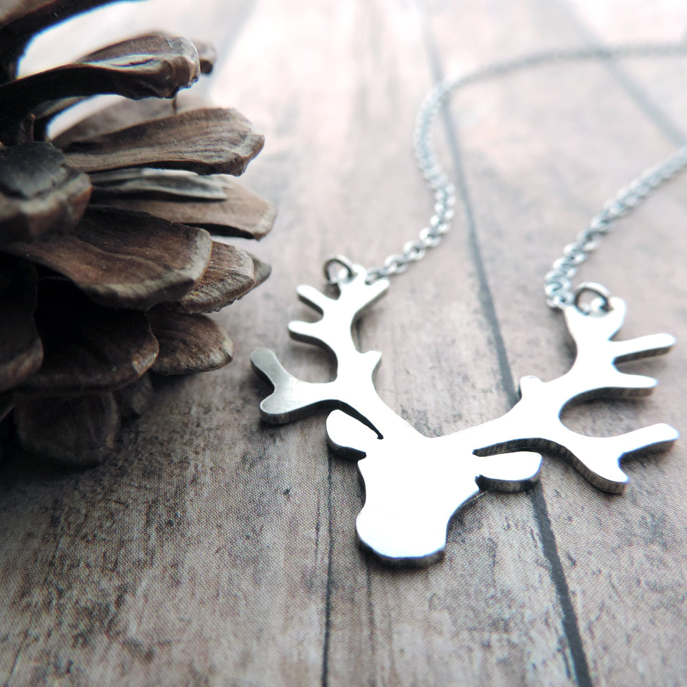 Reindeer Head - Antlers Sterling Silver Necklace