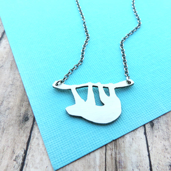 sterling silver sloth necklace