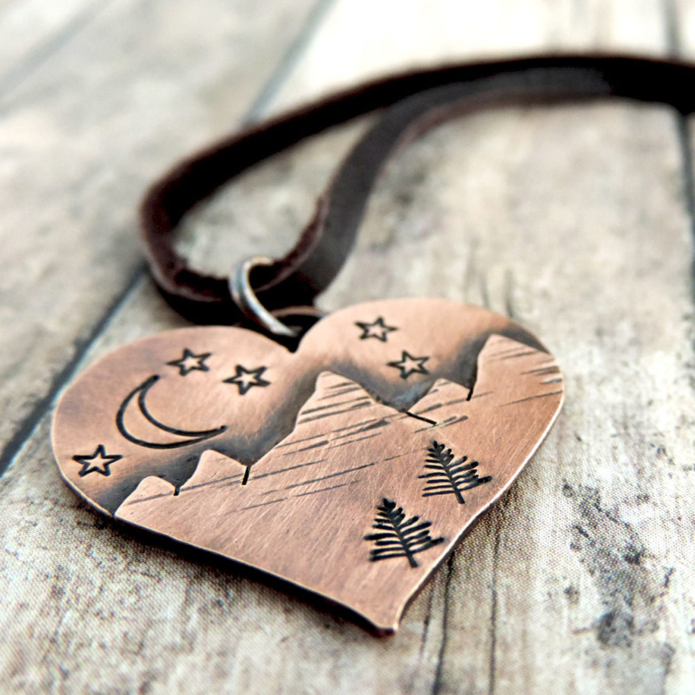 heart shaped mountain necklace