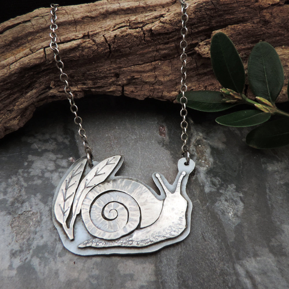 sterling silver snail pendant necklace