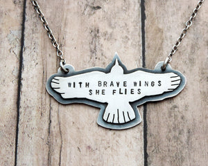 sterling silver inspirational bird necklace