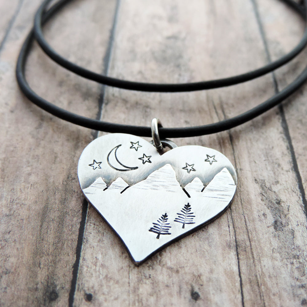 sterling silver heart necklace with mountain