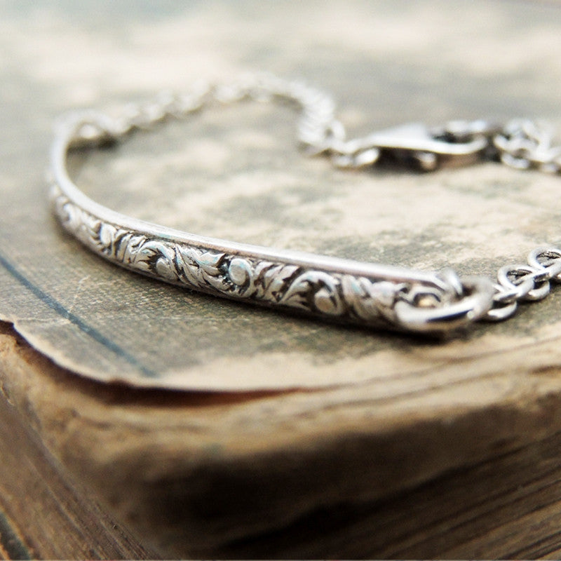 dainty sterling silver patterned bracelet