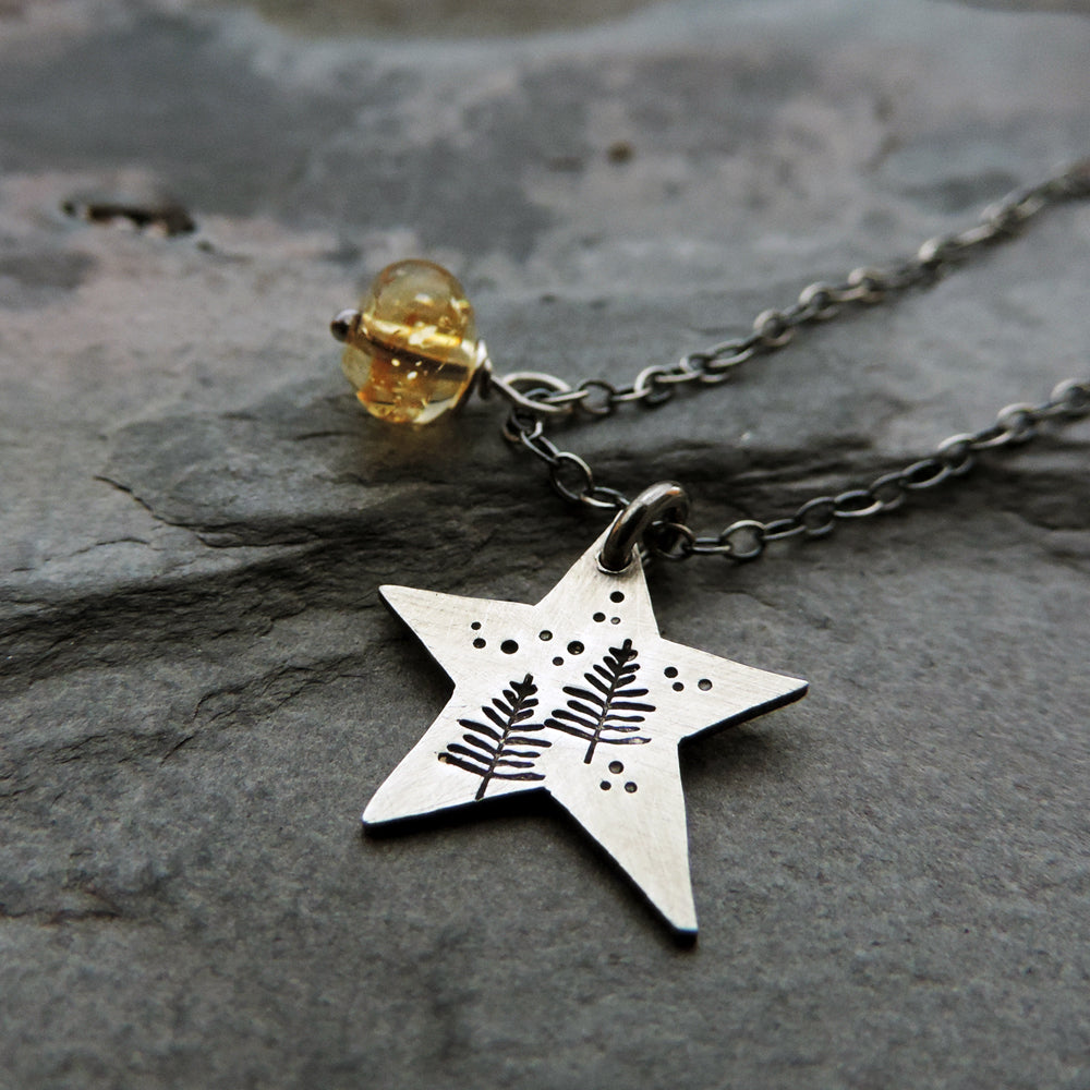 sterling silver star charm necklace with pine trees