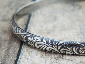 Floral Design Sterling Silver Cuff