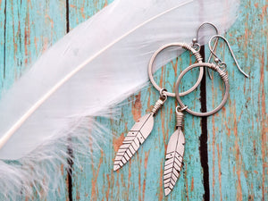 Sterling Silver Feather Earrings on Silver Rings