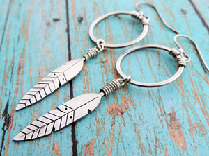 sterling silver feather jewelry