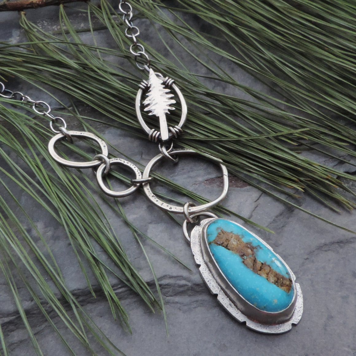 Fox Turquoise Pendant with Pine Tree Accent