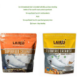 Laird Superfood Creamer Variety Pack, Original Non-Dairy Creamer And Tumeric Creamer 16 ounces each Plus Superfood Information Sheet
