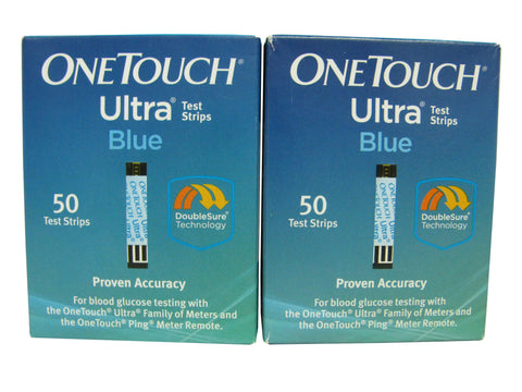 One Touch Ultra Blue Retail, Two Boxes 50ct each, 100 strips