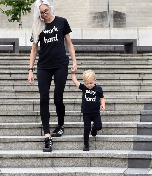 Fiona & Stanley in their Play hard / Work hard Tees