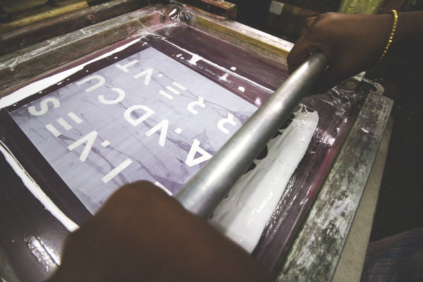 Screen Printing Lines & Current design on the hold-all, hands-free FRIHET bag made by a lady in India