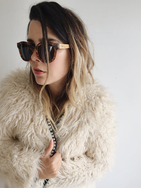 Ruth in shaggy Cream coat
