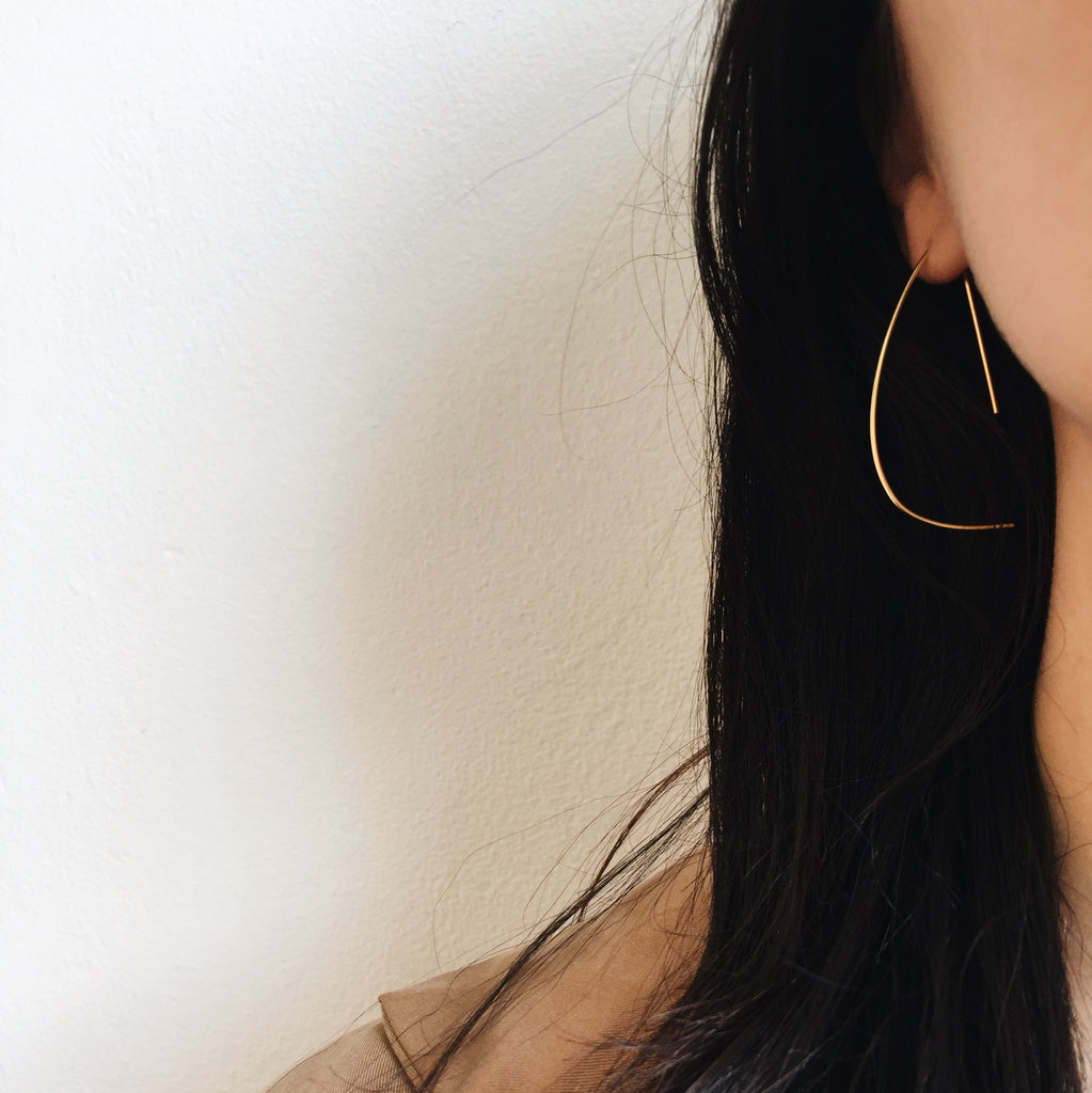 the D hoop earring by lines and current