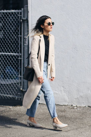 simple denim and long jacket, minimalist style, capsule wardrobe featured in Lines and Current blog