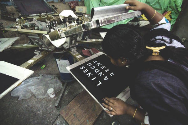 Printing Lines & Current design on the hold-all, hands-free FRIHET bag made by a lady in India