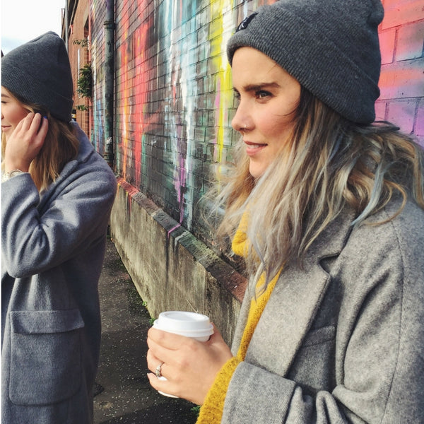 ruth in the elias beanie in grey by lines and current headwear