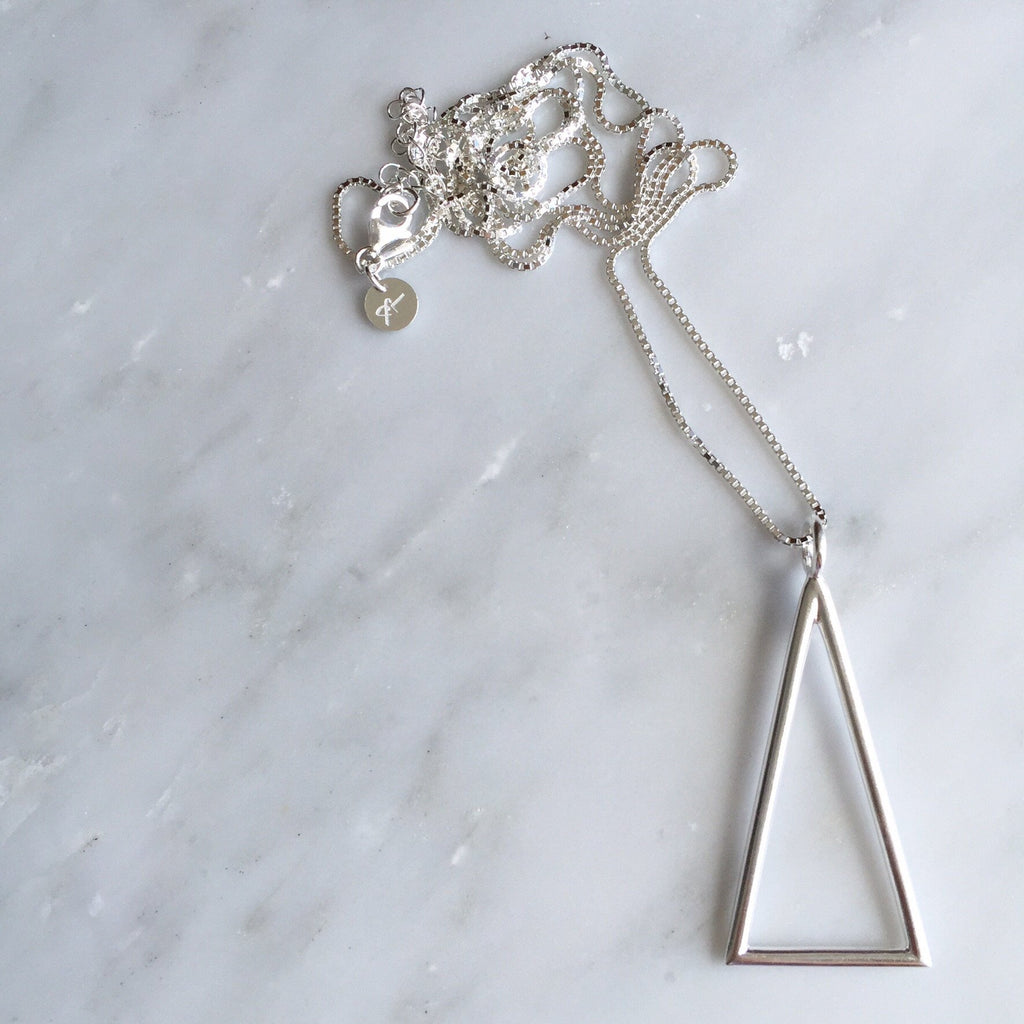 the DELTA Triangle Pendant Necklace Sterling Silver and Hand Made- Lines & Current - 1