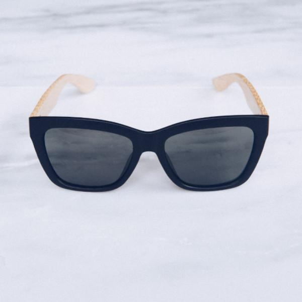'Henning' Classic Black Bamboo Sunglasses - Lines & Current