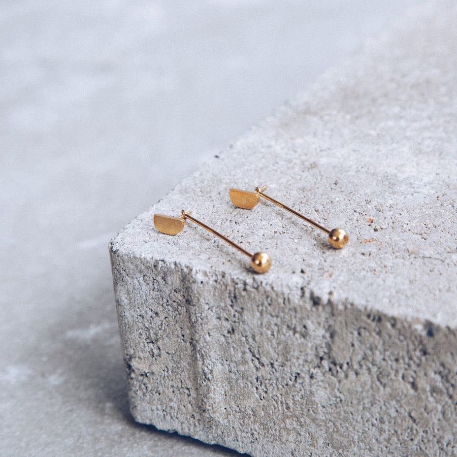 Mini-'D' Drop Earrings - Lines & Current