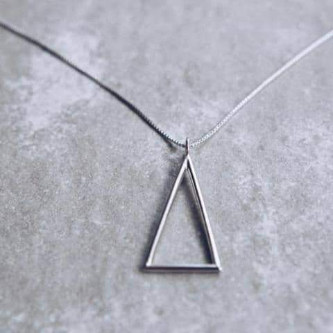 'Delta' Triangle Pendant Necklace | Sterling Silver Platinum Plated
